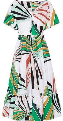 Emilio Pucci Pleated Printed Stretch-Cotton Poplin Midi Dress