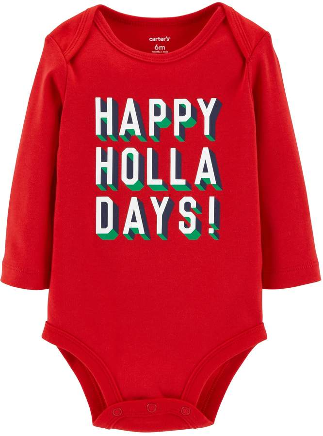 """Carters Baby Carter's """"Happy Holla Days!"""" Graphic Bodysuit"""
