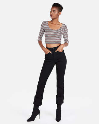 Express One Eleven Ribbed Three-Quarter Sleeve Cropped Top