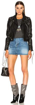Saint Laurent Slouchy Leather Motorcycle Jacket