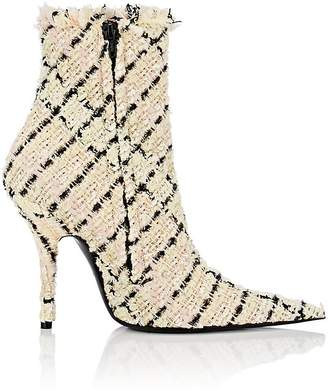 Balenciaga Women's Checked Tweed Side-Zip Ankle Booties