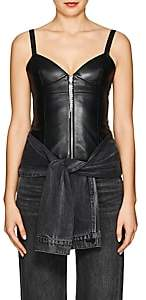 Area Women's Leather Bustier Top-Black