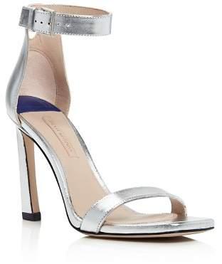 Stuart Weitzman Women's Square Nudist Metallic Leather High-Heel Sandals