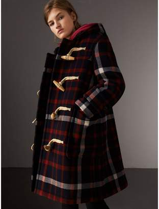 Burberry Check Wool Duffle Coat with Detachable Warmer