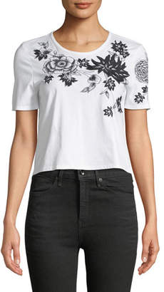 Josie Natori Short-Sleeve 3D Floral-Embroidered Cropped T-Shirt