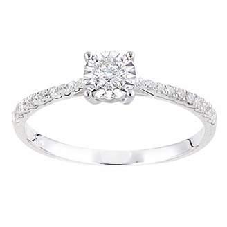 Naava Women Round Diamond Engagement Halo Ring -Size J PR12735W18-J
