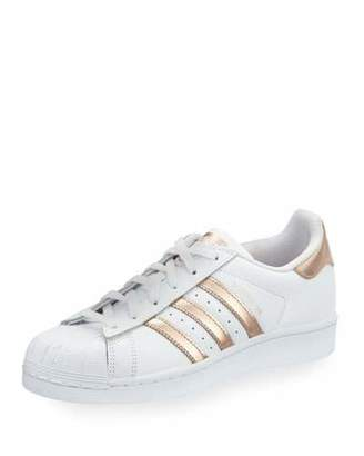 Adidas Superstar Original Fashion Sneaker, White/Rose Gold $80 thestylecure.com
