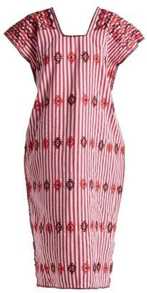 Pippa Holt - No.71 Embroidered Cotton Kaftan - Womens - Burgundy Multi