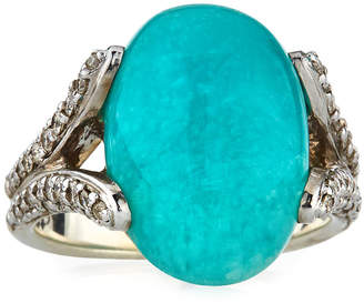 John Hardy Classic Chain Amazonite Ring with Diamonds, Size 7