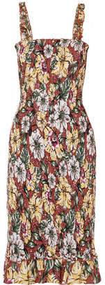 Faithfull The Brand Maya Smocked Floral-print Linen Midi Dress - Brown