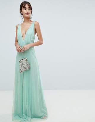 Asos Design DESIGN pleated tulle maxi dress with lace back