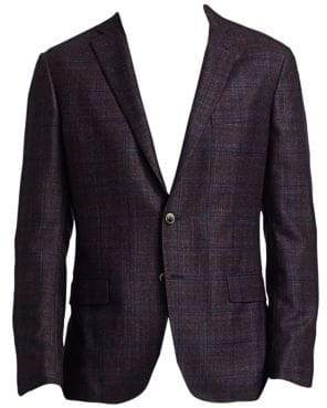 Saks Fifth Avenue COLLECTION Textured Wool, Silk & Cashmere Plaid Sportcoat