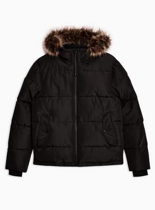 Topman Mens Black Hooded Puffer Jacket