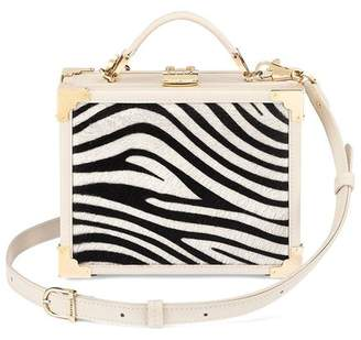 Aspinal of London Mini Trunk Clutch In Smooth Ivory Zebra Haircalf