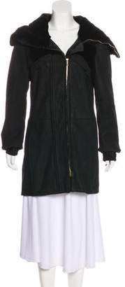 Gucci Shearling-Trimmed Leather Coat