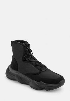 Missguided Light Weight High Top Mesh Panel Trainers