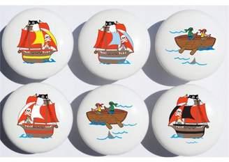 Presto Chango Decor Pirate Ship Drawer Pull Knobs / Ceramic Cabinet Pulls / Pirate Room Decor