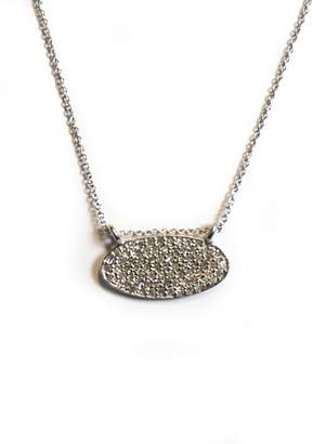 Lera Jewels Pave Diamond Mini Oval Necklace 14k White Gold