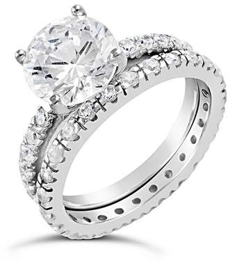Sterling Forever Sterling Silver Solitaire CZ Ring & Band