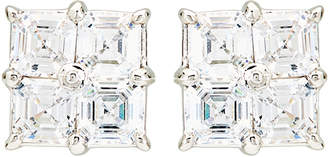 FANTASIA Silver-Tone 4-Square Cubic Zirconia Earrings