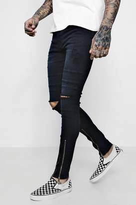 boohoo Super Skinny Denim Jeans With Zip Cuff