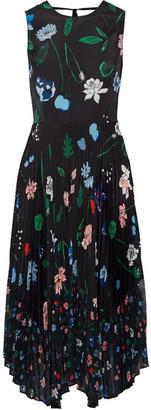 Markus Lupfer - Ella Pleated Printed Chiffon Midi Dress - Black $500 thestylecure.com