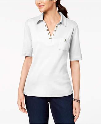 Karen Scott Cotton Studded-Collar Polo Shirt