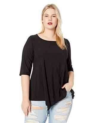 Star Vixen Women's Plus Size 3/4 SLV Hanky Hem Stretch Tunic