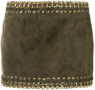 Balmain leather mini skirt