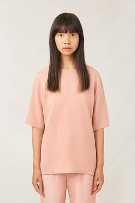 Mansur Gavriel Silk Short Sleeve Blouse - Blush
