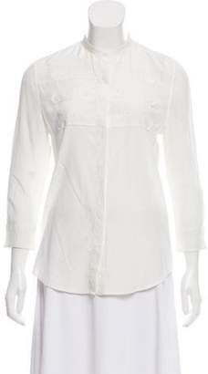 Boy By Band Of Outsiders Silk Button-Up Top White Silk Button-Up Top