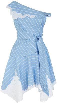 Jonathan Simkhai Asymmetric Lace Trim Mini Dress
