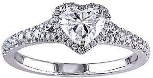 Affinity Diamond Jewelry Diamond Heart Halo Ring, 1cttw, 14K White Gold,