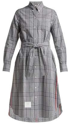 Thom Browne Checked Cotton Shirtdress - Womens - Black White