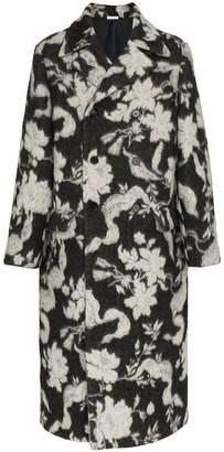 Jil Sander floral intarsia wool coat