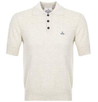 Vivienne Westwood Knitted Polo T Shirt Beige