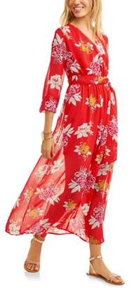 Paper Tee Juniors' Floral Chiffon Faux-Wrap Maxi Dress