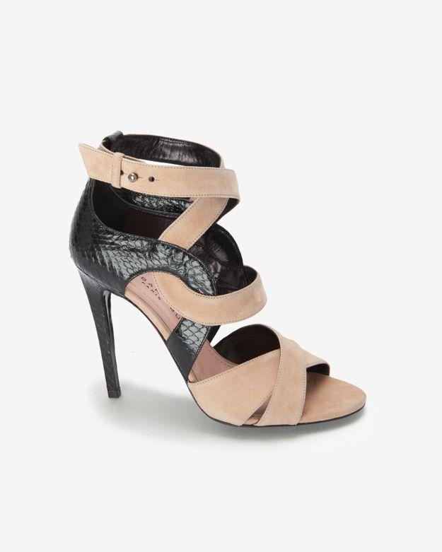 Barbara Bui Colorblock Suede Strappy High Heel Sandal