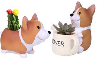 Corgi WITUSE Desk Nursery Lovely Resin Pot Parlour Mall Green Work Garden Supply X2 pots