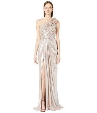 Marchesa One Shoulder Draped Lame Gown with 3D Lame Flowers At Shoulder and Front Slit