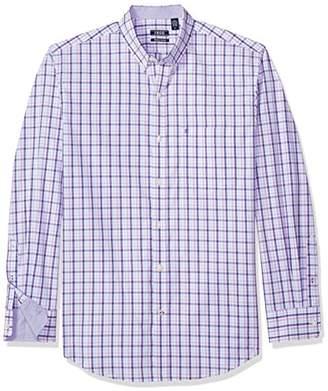 Izod Men's Premium Essential Tattersal Long Sleeve Shirt (Regular and Slim Fit)