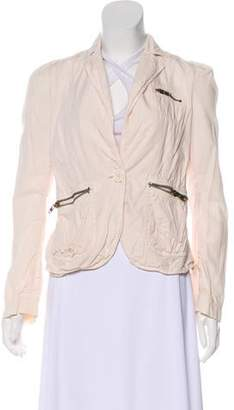 Marc Jacobs Zip-Accented Peak-Lapel Blazer