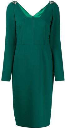 Dolce & Gabbana embellished shoulders midi dress