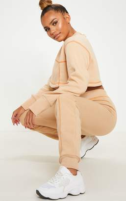 PrettyLittleThing Nude Contrast Stitch Cuff Jogger