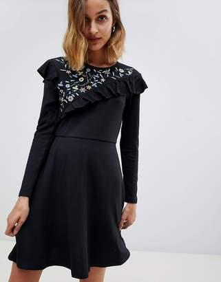 Angel Eye Long Sleeve Dress With Lace Insert