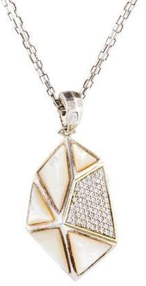 Kara Ross Mother of Pearl & White Sapphire Pyramid Pendant Necklace