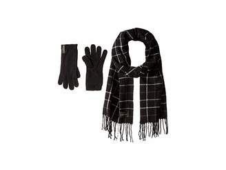 Calvin Klein Plaid Woven Scarf and Gloves Two-Piece Set