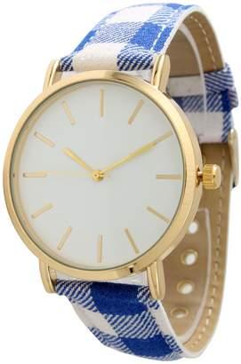 Olivia Pratt Women's Plaid Leather Watch