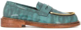 Le Mocassin Zippe sea green leather loafers