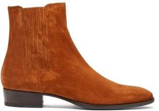 Saint Laurent Wyatt Suede Chelsea Boots - Mens - Brown
